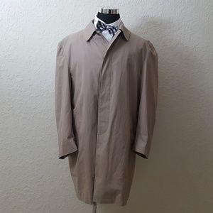 Jos A Bank Trench Coat Mens 46R Tan Wool Blend